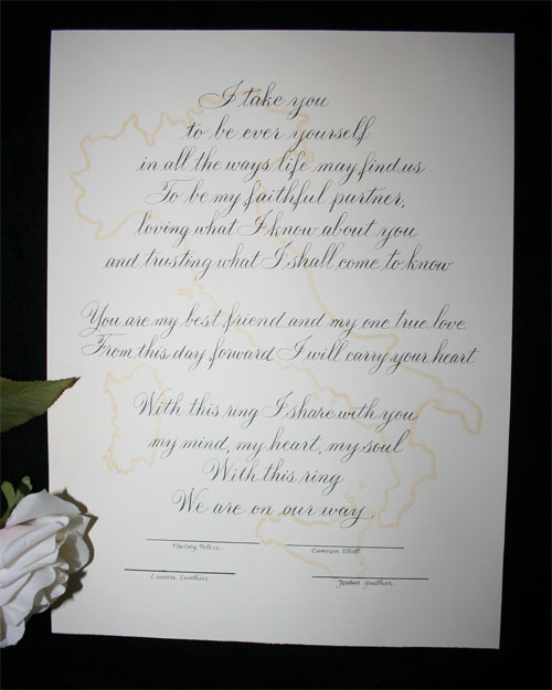 Wedding Vows Certificate Italy Map