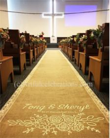 custom hand painted burlap lace aisle runner with floral design click to enlarge