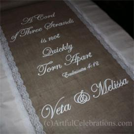 burlap lace aisle runner with hand painted quote click to enlarge custom hand painted wedding